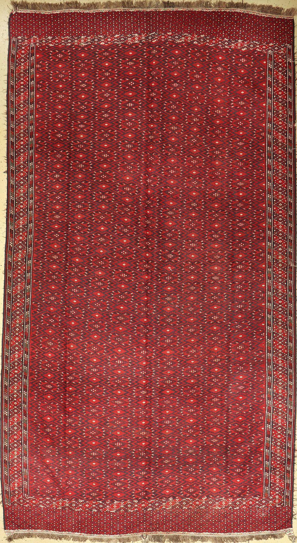 Jomud Palais Kelim, Turkmenistan, um 1920/30, Wolle auf Wolle, EHZ: 2 ca. 380 x 208 cm.Jomud