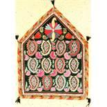 """Lakai """"Stickerei"""" alt, Uzbekistan, um 1930/1940, Seide auf Samt, ca. 85 x 64 cm, EHZ: 2Lakai """""""