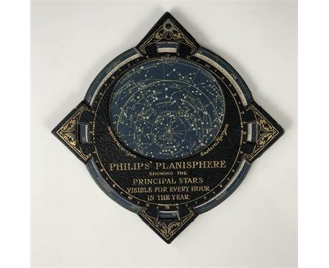 """An early 20th Century """"Philips' Planisphere, showing the principle stars visible for every hour in the year"""", 13 x 13 cm"""