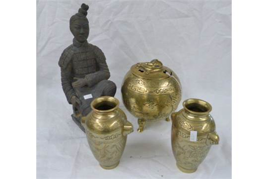 Oriental Brass Sensor Pair Of Brass Oriental Vases Figure Of
