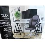 1 BOXED GLOBAL FURNITURE SPORTY RACER BLACK BONDED LEATHER OFFICE CHAIR RRP £89.99