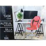 1 BOXED GLOBAL FURNITURE SPORTY RACER RED BONDED LEATHER OFFICE CHAIR RRP £89.99