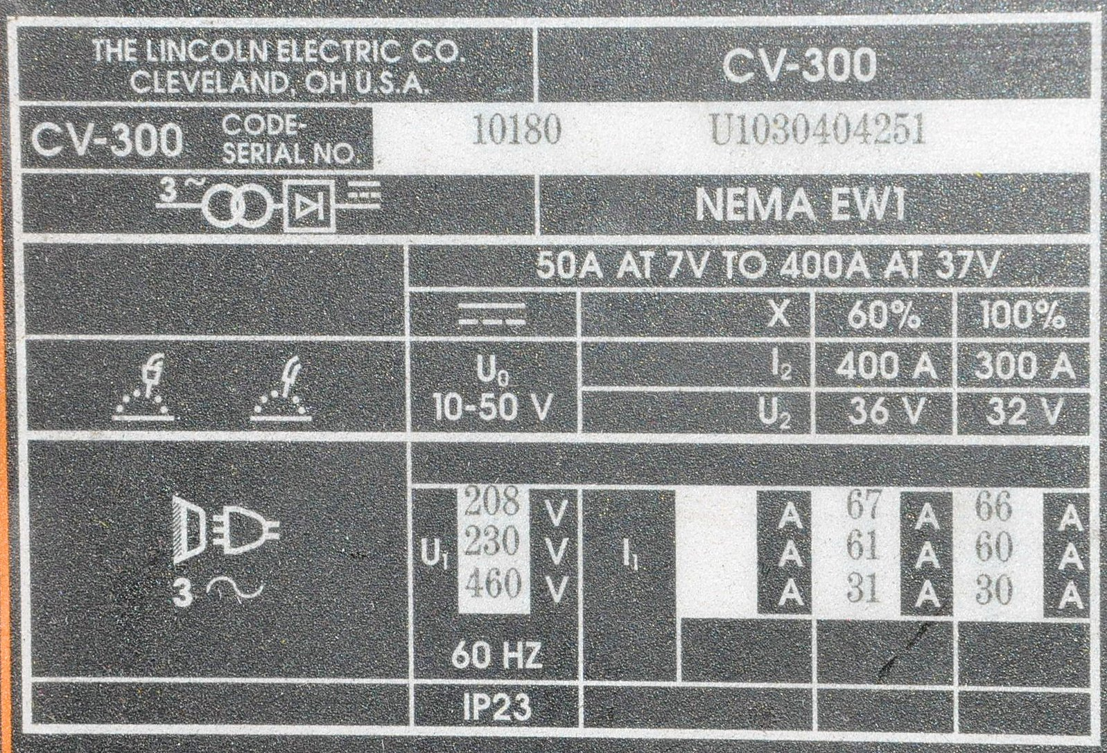Lincoln CV-300, 300-Amp Capacity Mig Welding Power Source, - Image 2 of 2