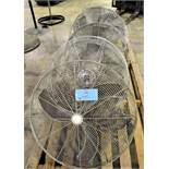 "Lot-(2) TPI and (3) Air Master 30"" Post Mount Style Shop Fans on (1)"