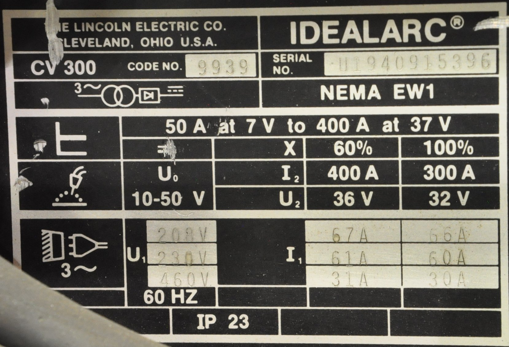 Lincoln Idealarc CV-300, 300-Amp Capacity CV DC Arc Welding - Image 2 of 2
