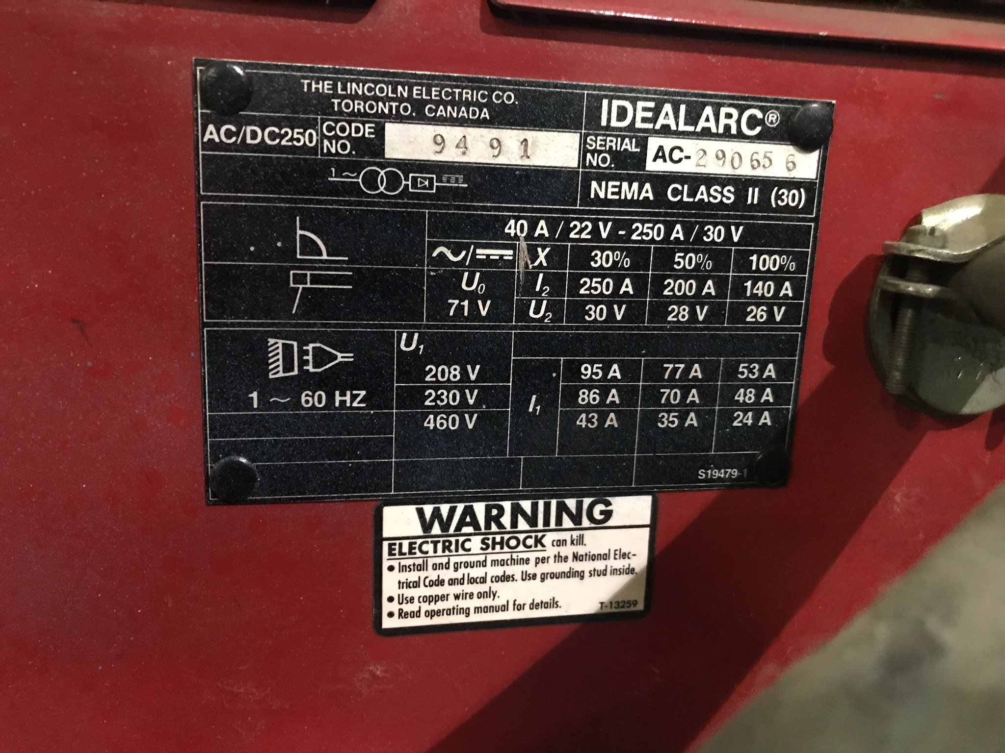 Lincoln Ideal Arc 250, 250 Amp Capacity, CC, AC/DC, Arc Welder - Image 2 of 2