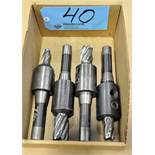 Lot-(4) R8 Tool Holders with Cutters in (1) Box