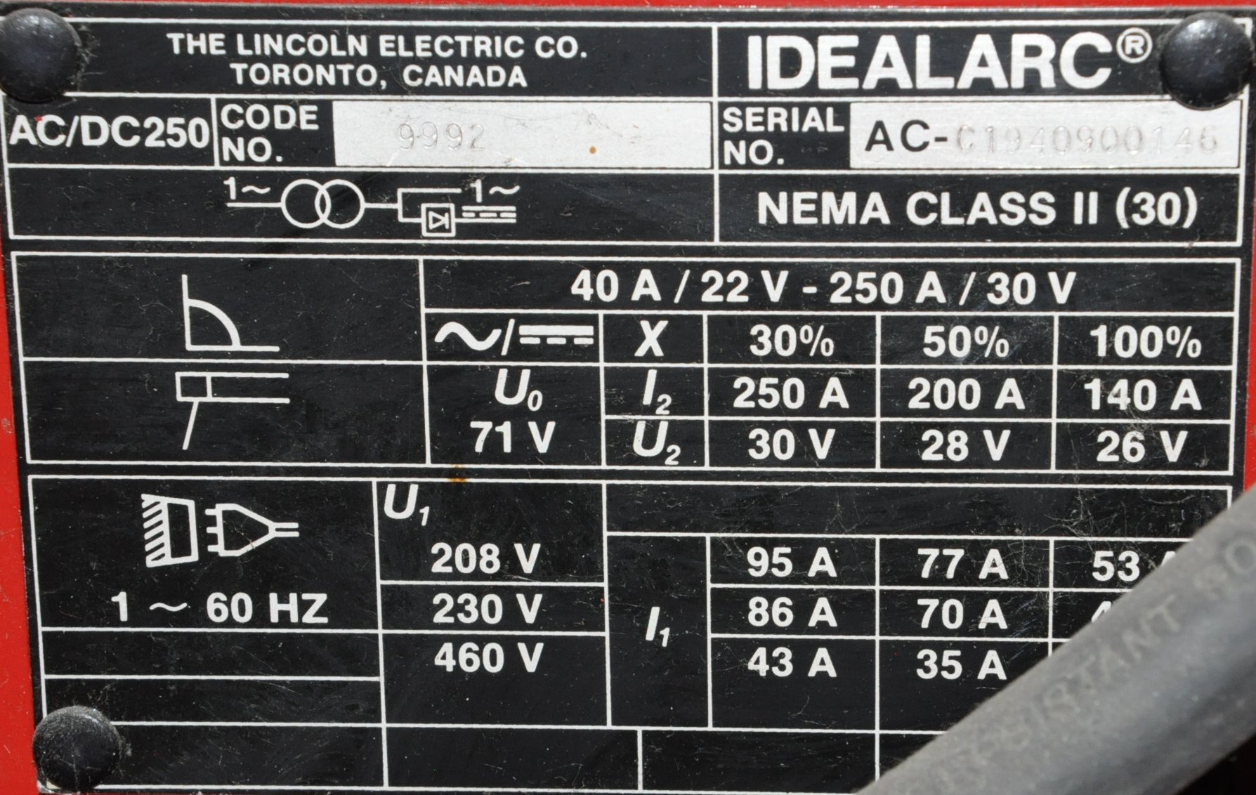 Lincoln Idealarc 250, 250-Amp Capacity CC AC/DC Arc Welder, - Image 2 of 2