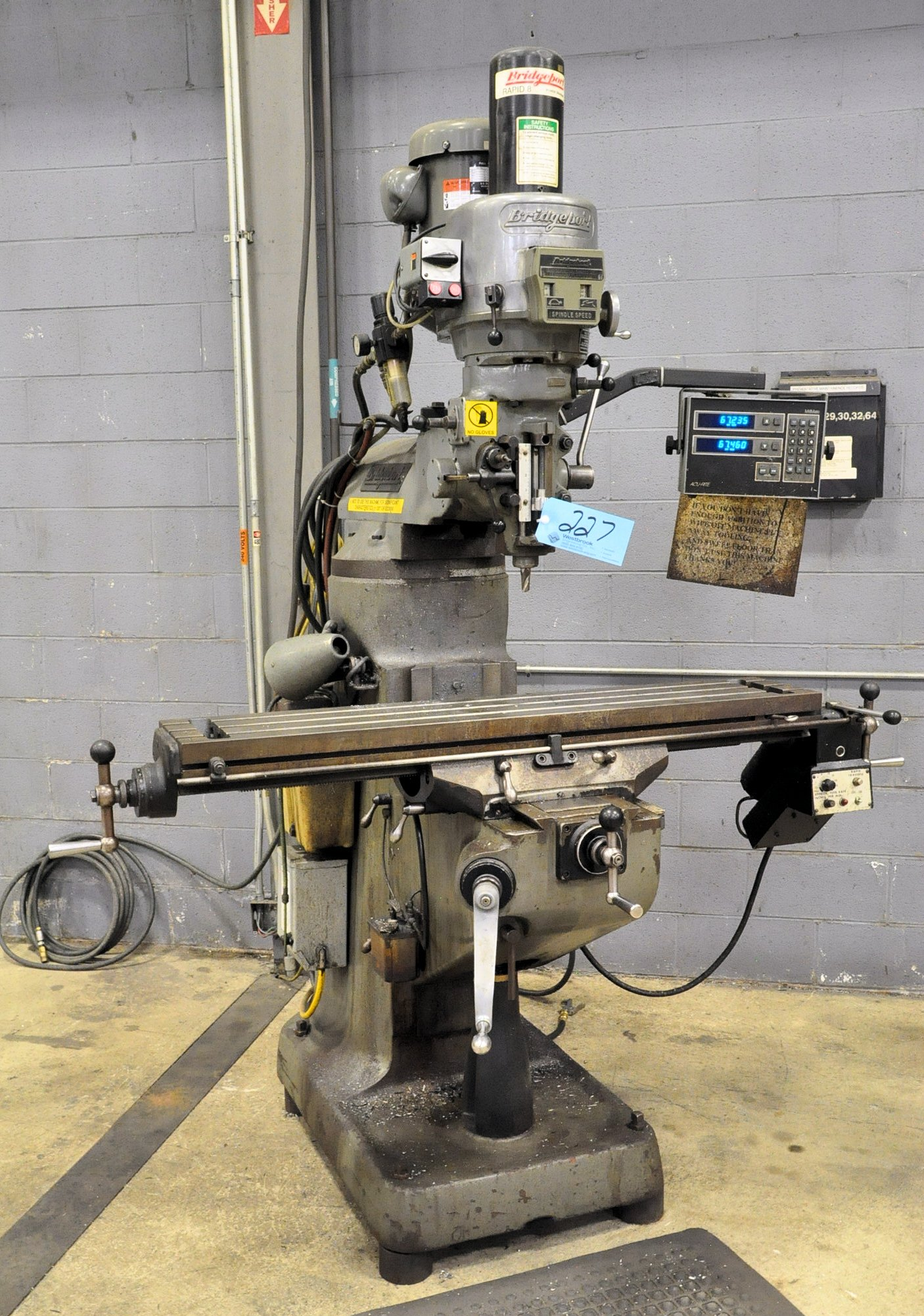 "Bridgeport 2-HP Variable Speed Vertical Milling Machine, 2-aXIS Readouts, 9"" X 48"" Table, Work Light"