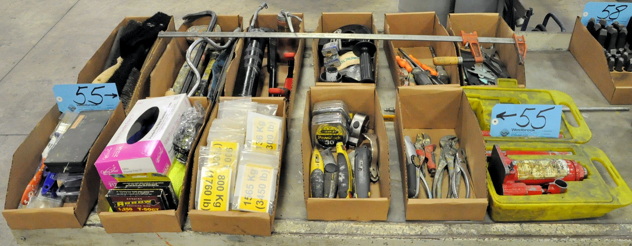 Lot-Asst'd Hand Tools in (11) Boxes with (1) 4-Ton Bottle Jack