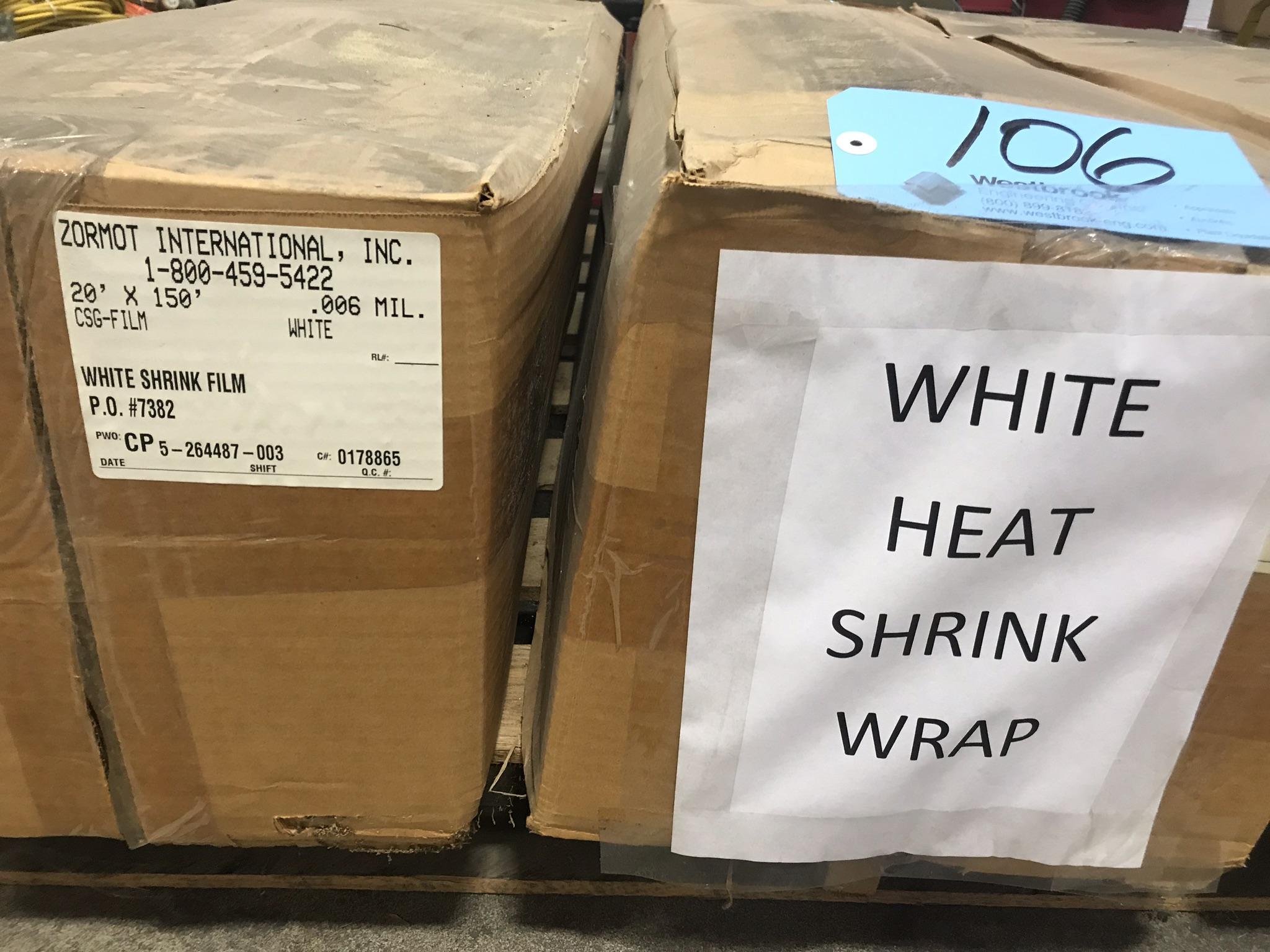 Lot-(3) Rolls White Heat Shrink Wrap on (1) Pallet