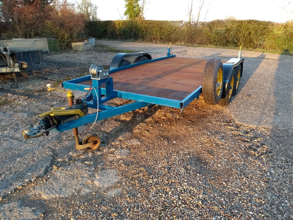 Lot 27 - Car transporter 14ft x 6ft, winch, new floor, rear stands, spare wheel,
