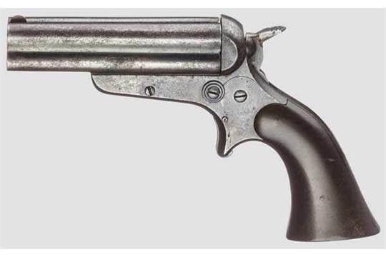 Sharps & Hankins Breech Loading 4-Shot Pepperbox Pistol, um