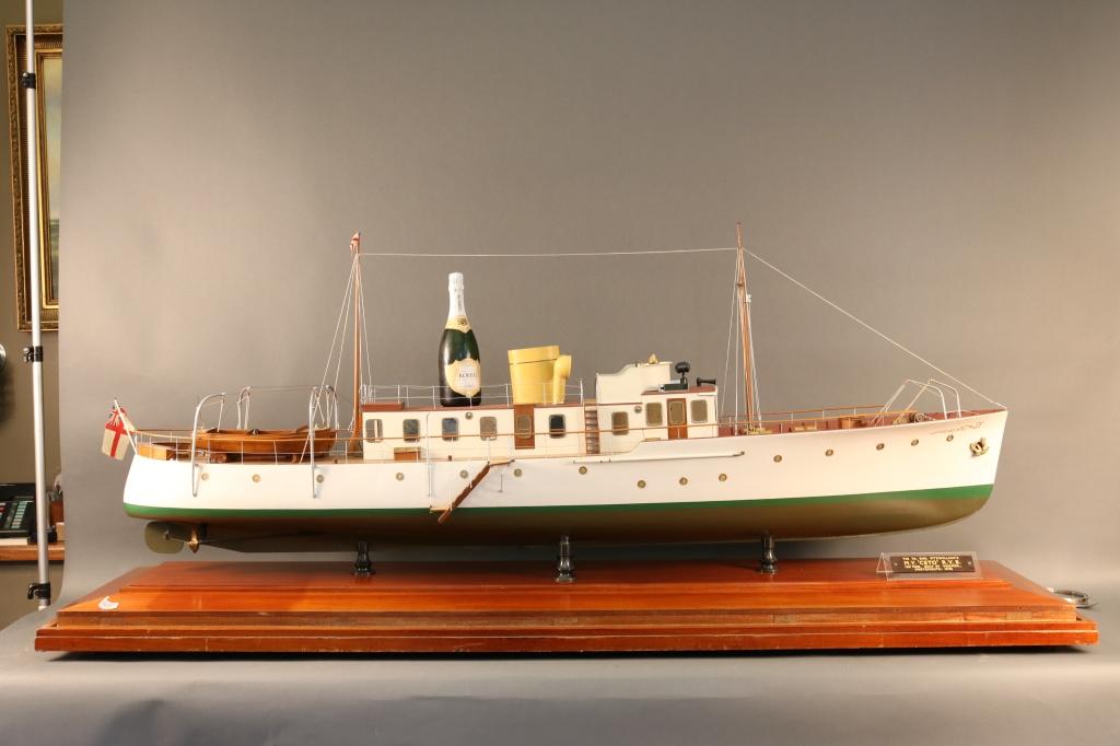 """Lot 178 - Vosper Yacht Builder's Model of Motor Yacht Ceto Original dockyard builder's model of """"Motor"""
