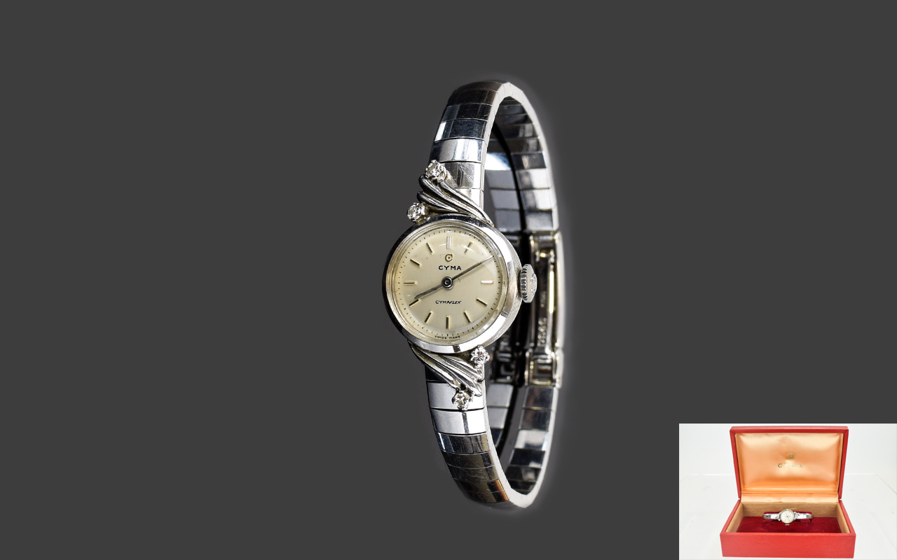 Lot 29 - Cyma - Swiss 9ct White Gold Ladies Dress Watch with Diamond Set Corners to Bezel and Shoulder and