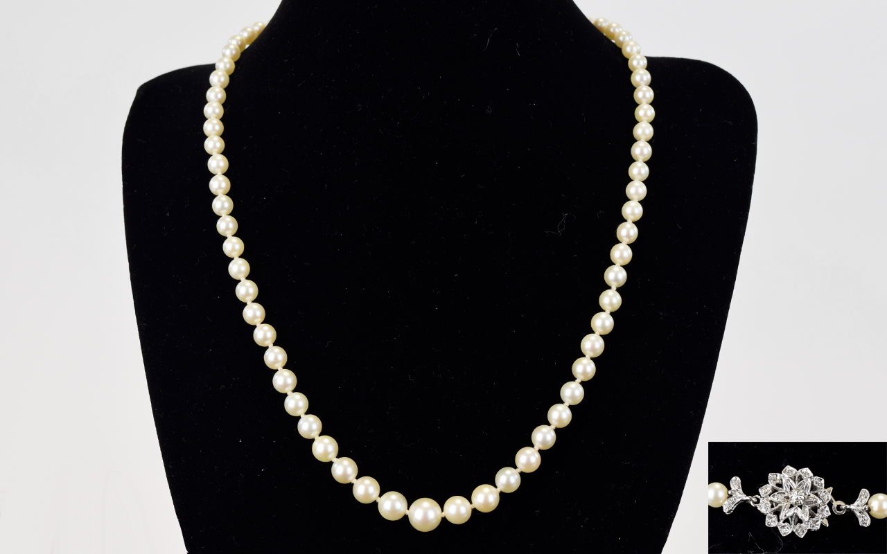 Lot 43 - 1930's Period Very Fine Quality Single Strand Cultured Pearl Necklace with 18ct White Gold and