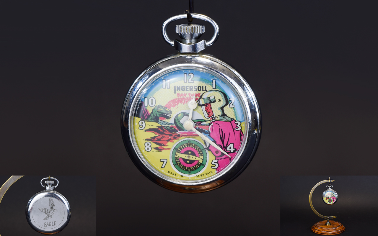 Lot 60 - Ingersoll Dan Dare Chrome Cased Mechanical Pocket Watch. c.1950's.