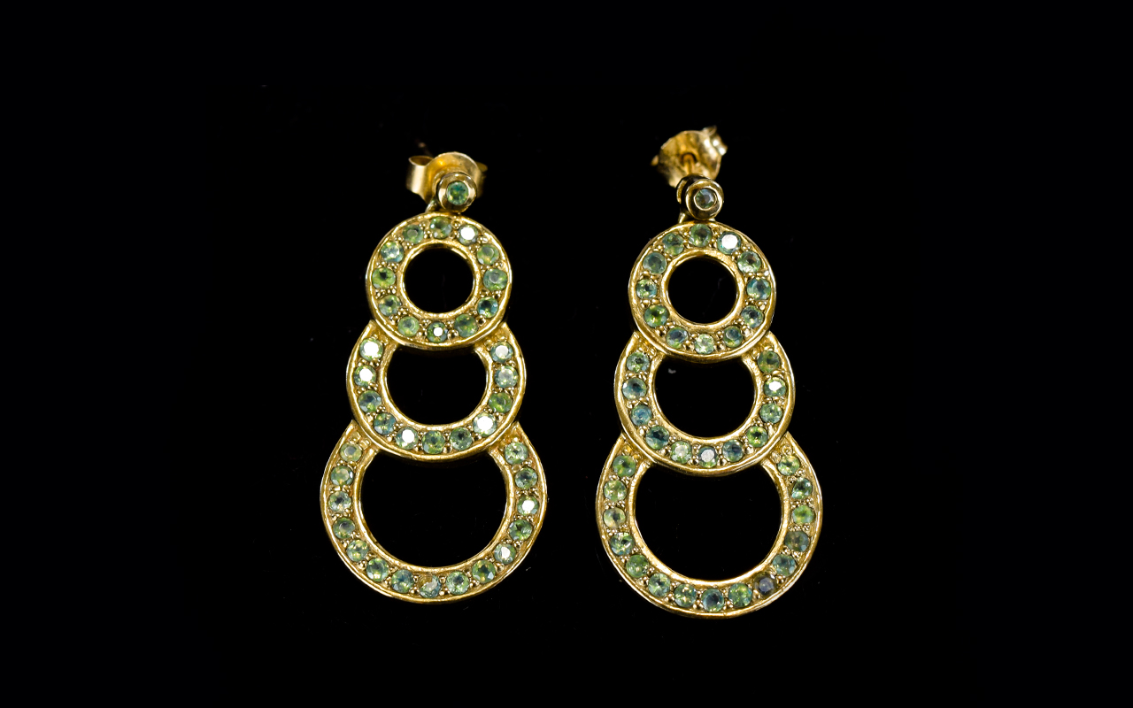 Lot 49 - Ladies Stylish Pair of Stone Set Vintage 9ct Gold Drop Earrings. Fully Hallmarked for 9ct Gold.