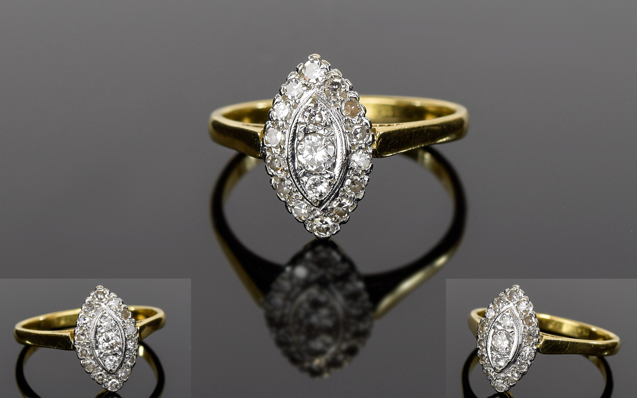 Lot 5 - Antique Ladies 18ct Gold and Platinum Set Diamond Ring, Set with Over 18 Diamonds of Good Colour.