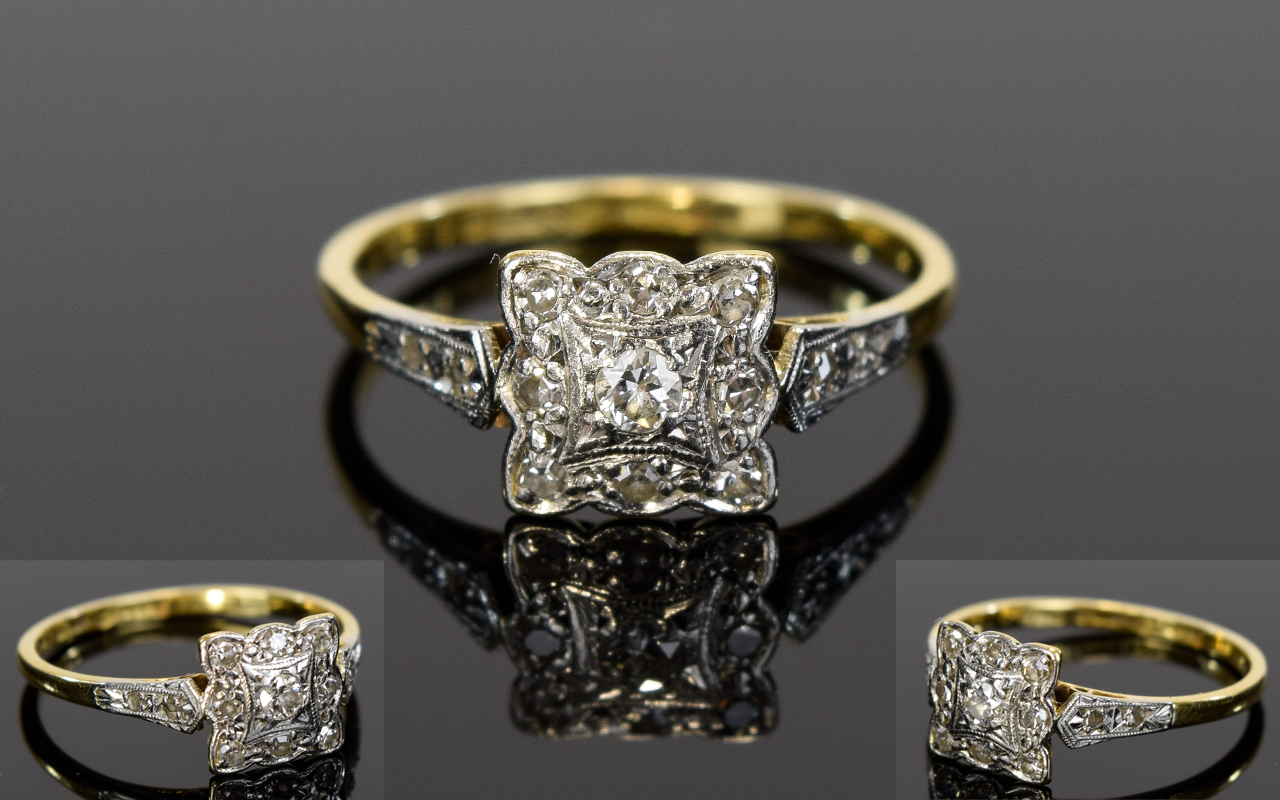 Lot 28A - Antique 18ct Gold and Platinum Set Diamond Cluster Ring,