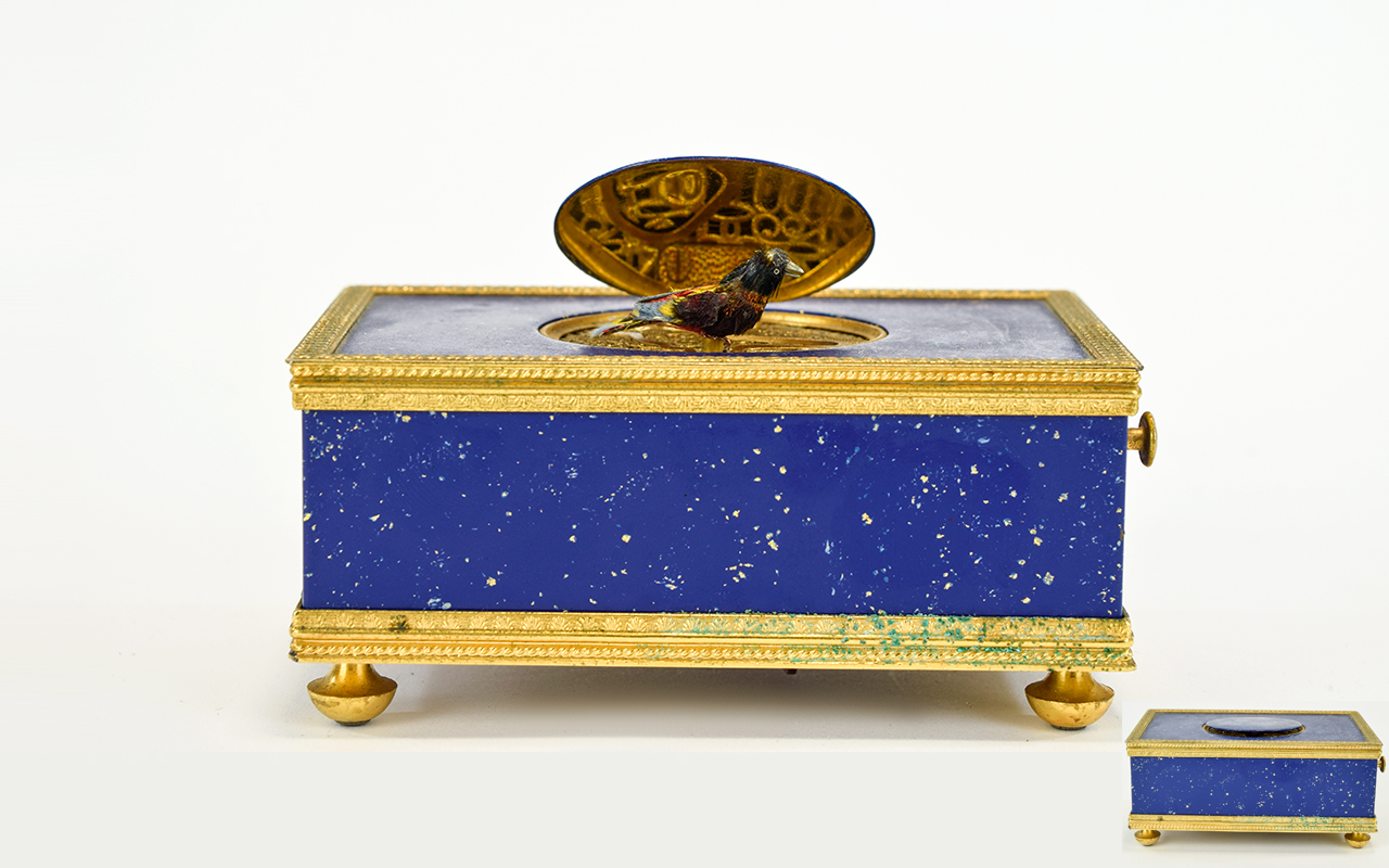 Lot 42 - Reuge Music Box Gilt Brass Lapis Lazuli Singing Bird Automaton Reuge Music,