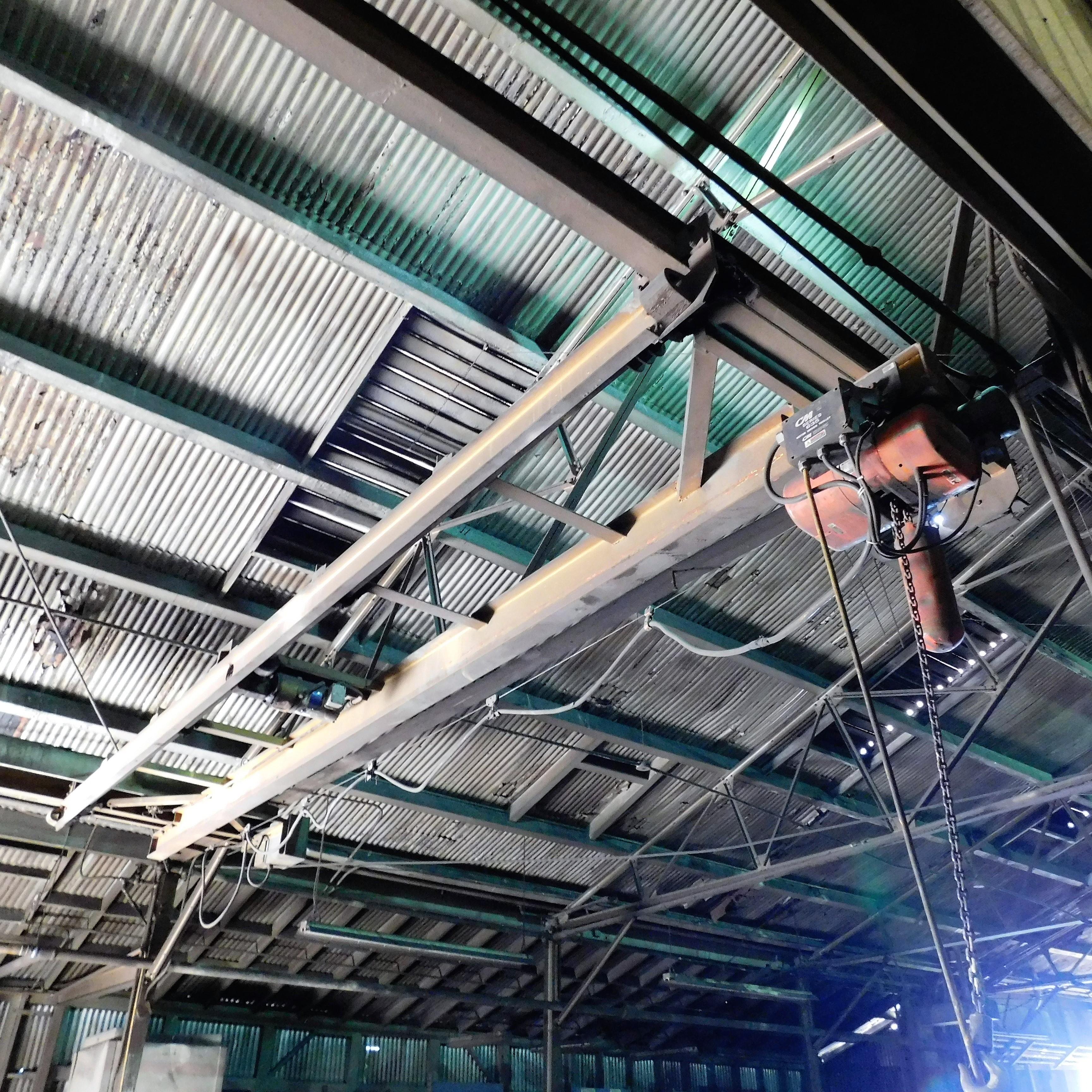 Lot 18 - APPROX. 22' SPAN UNDERSLUNG BRIDGE W/ C/M 1-TON ELECTRIC HOIST W/ 3-WAY PENDANT CONTROLS