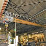 BRIDGE CRANE, SINGLE I BEAM, TOP RUNNING, APPROX. 30' SPAN, W/ YALE 3-TON ELECTRIC HOIST W/ PENDANT