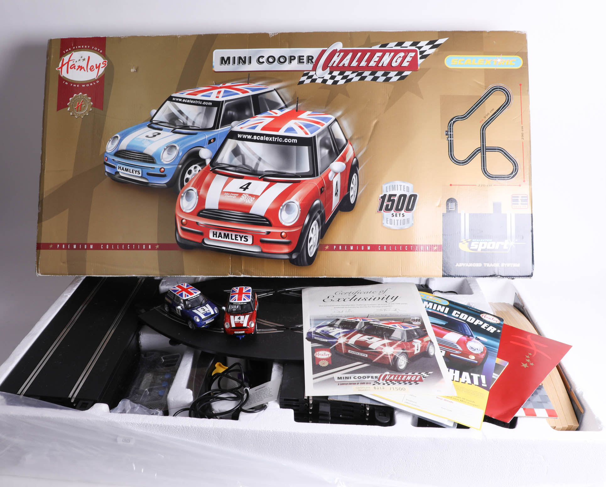 A Hamley's 'Mini Cooper Challenge' Scalextric set, limited edition 319/1500 with certificate,