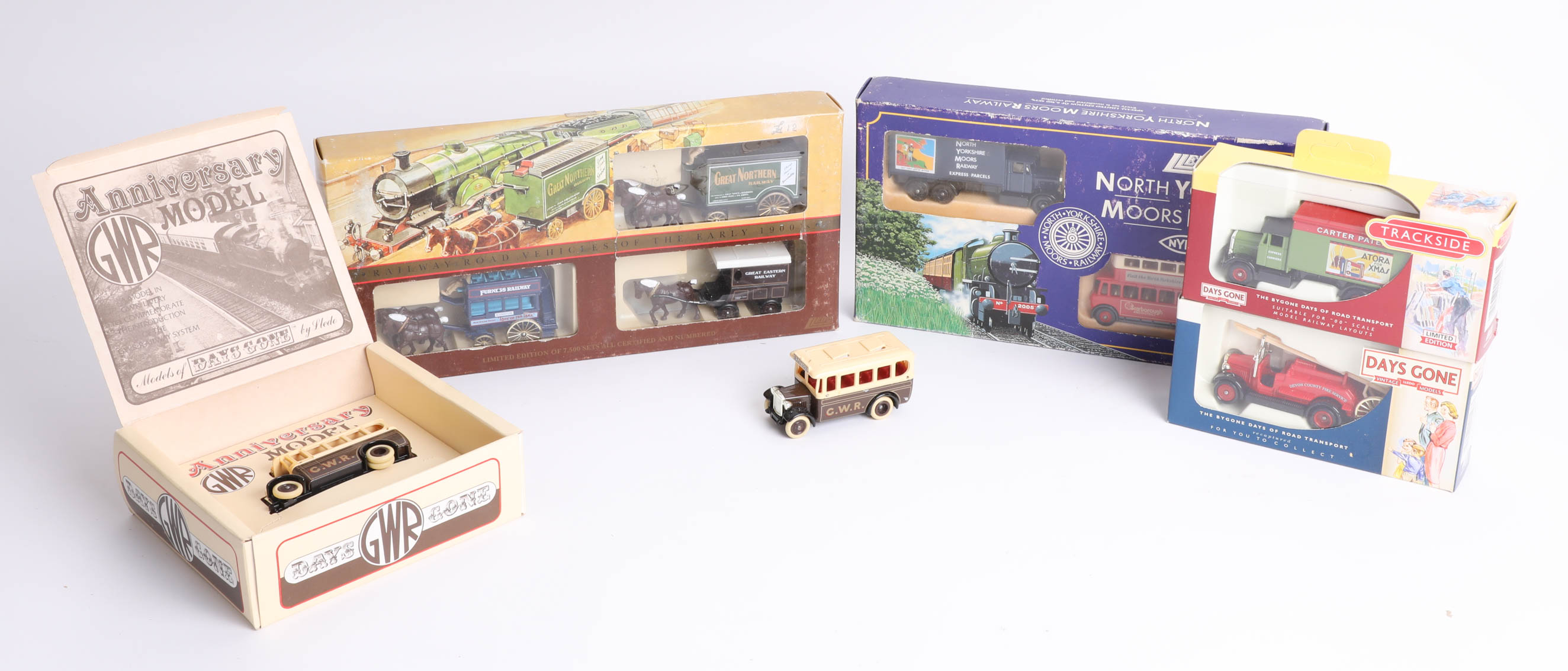 Nine diecast models including 'Railway Road Vehicles of the Early 1900s' by Lledo. (9)