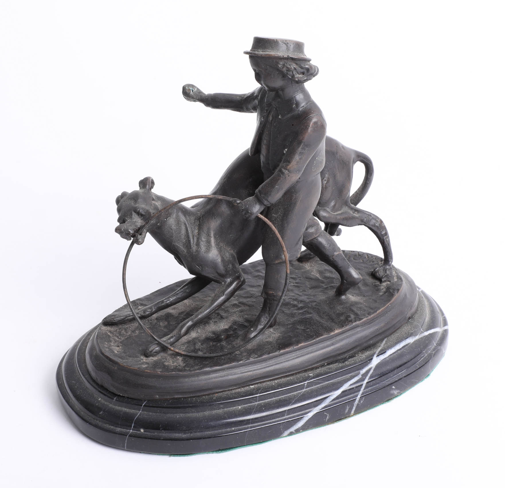After Barrie bronze sculpture of a girl walking a dog with a hoop on plinth, height 19cm.