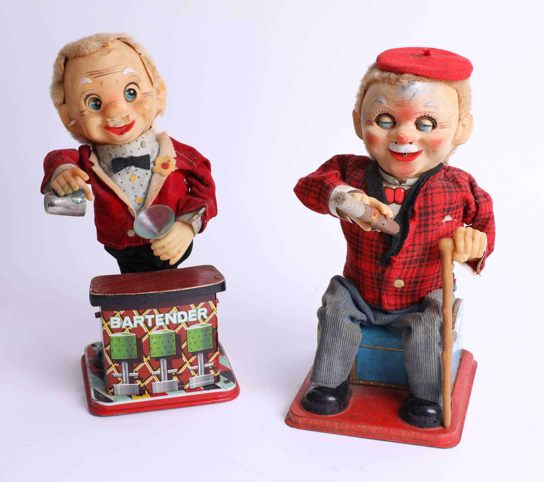 Two Rosko tinplate Japanese mechanical toys, 'Bartender' and 'McGregor'.