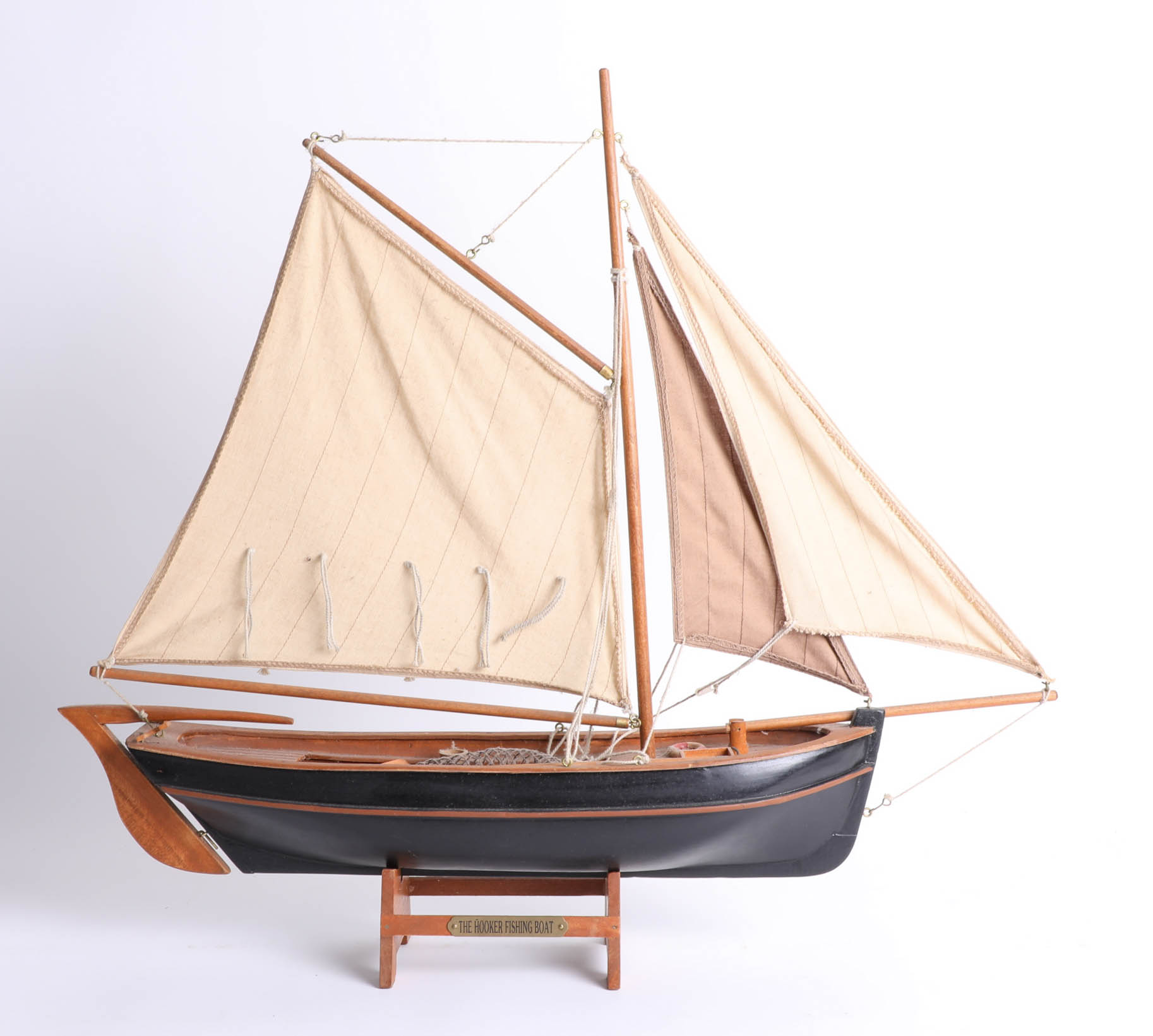 A wooden model of the 'The Hooker' Fishing Boat.