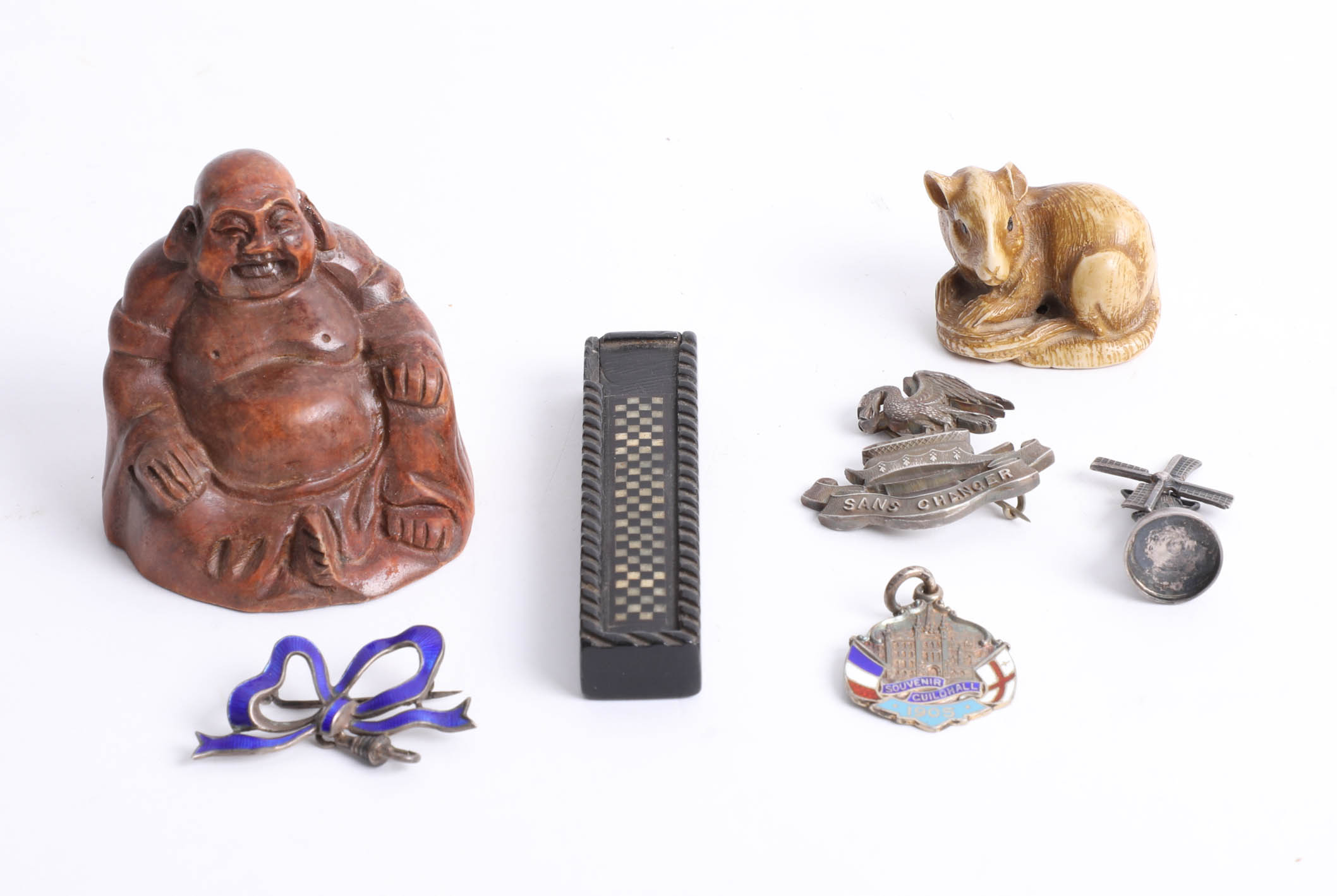 Various objects including carved wood Buddha, small 19th century inlaid needle box, silver 'Sans