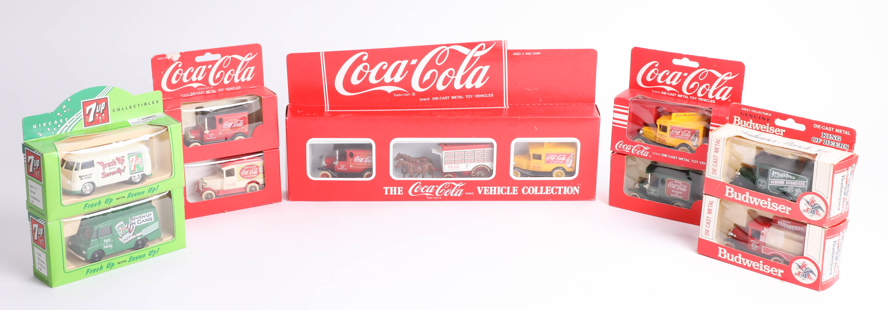 Thirty-two advertising diecast cars, including twenty-five 'Coca Cola', five '7-Up' and two '