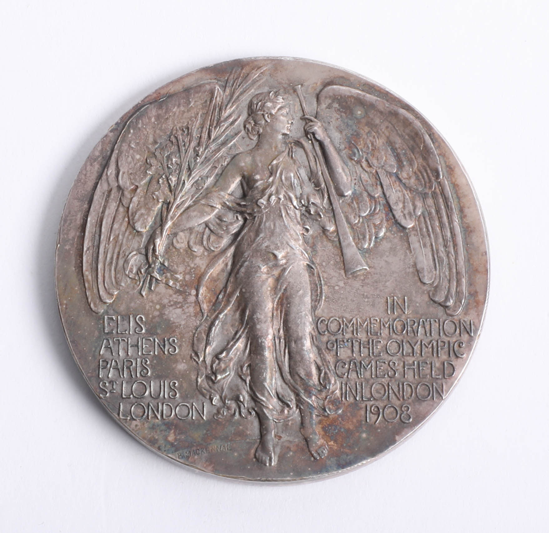 A London Olympics 1908 Judge`s commemorative medal by P. Vaughton, the obverse depicting 'Flame' - Image 3 of 4