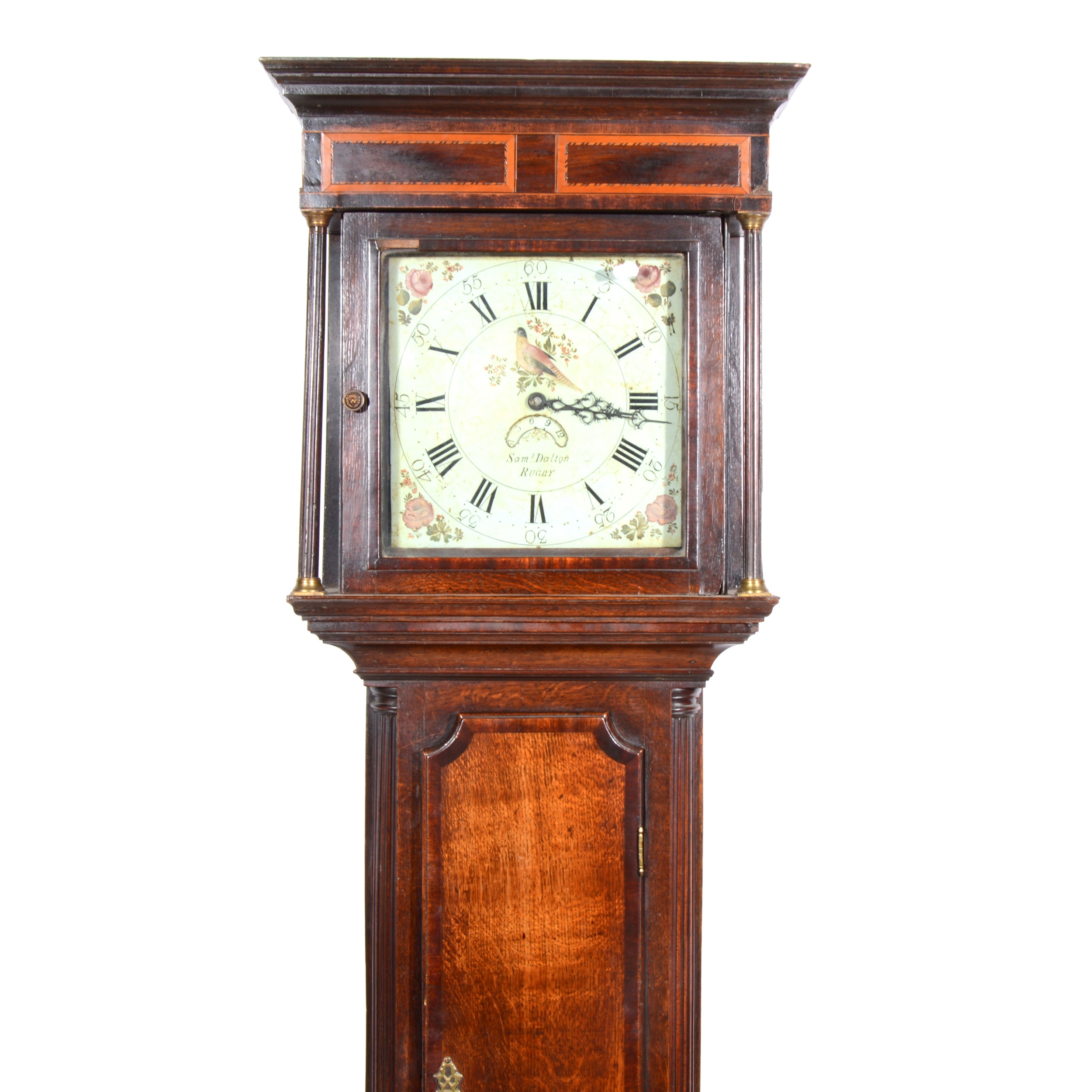 Lot 304 - Samuel Doulton, Rugby, oak longcase clock, thirty-hour movement