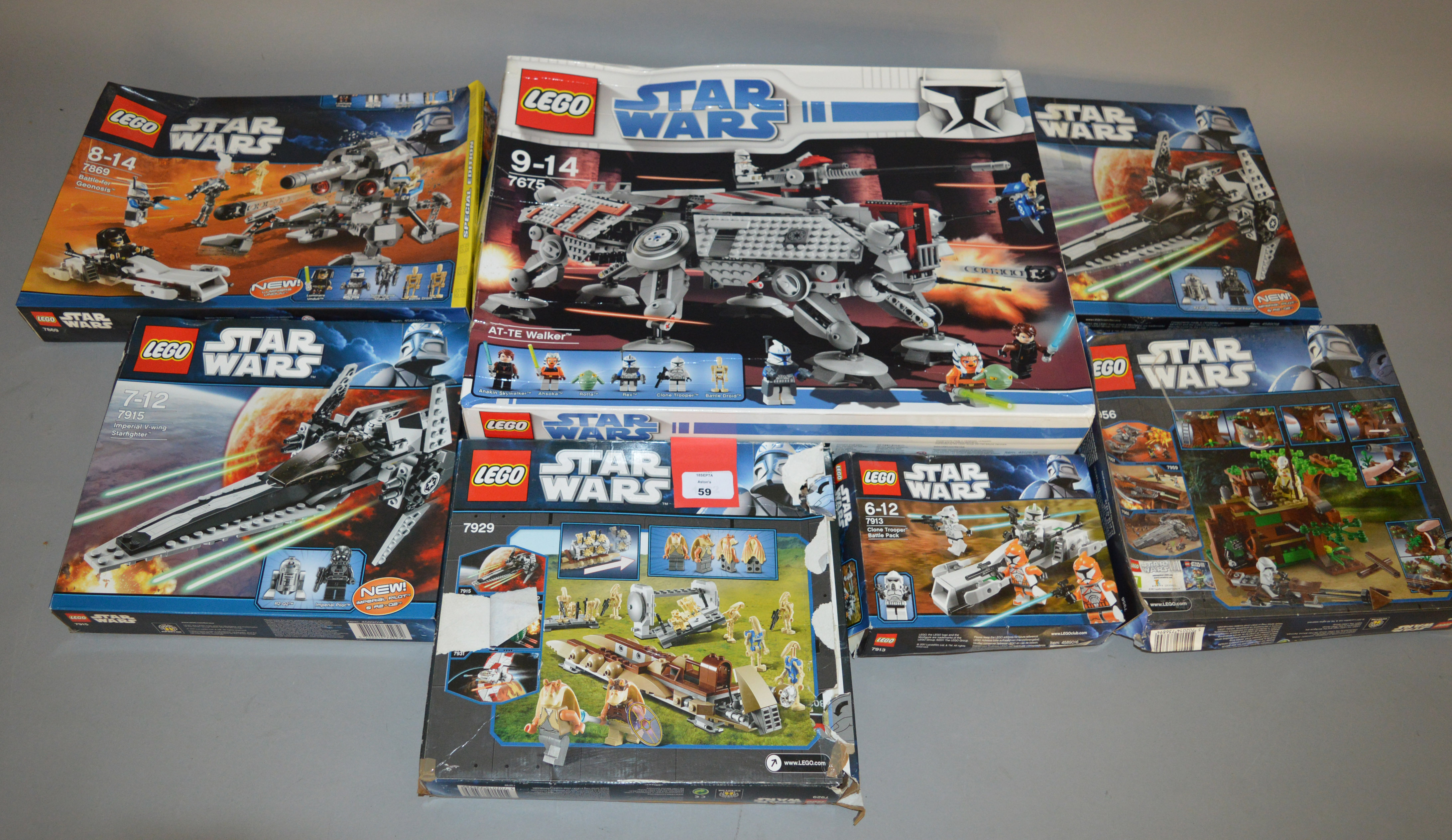 Lot 59 - Seven Lego Star Wars sets: 7675; 7915; 7913; 7915; 7929; 7956; 7869.
