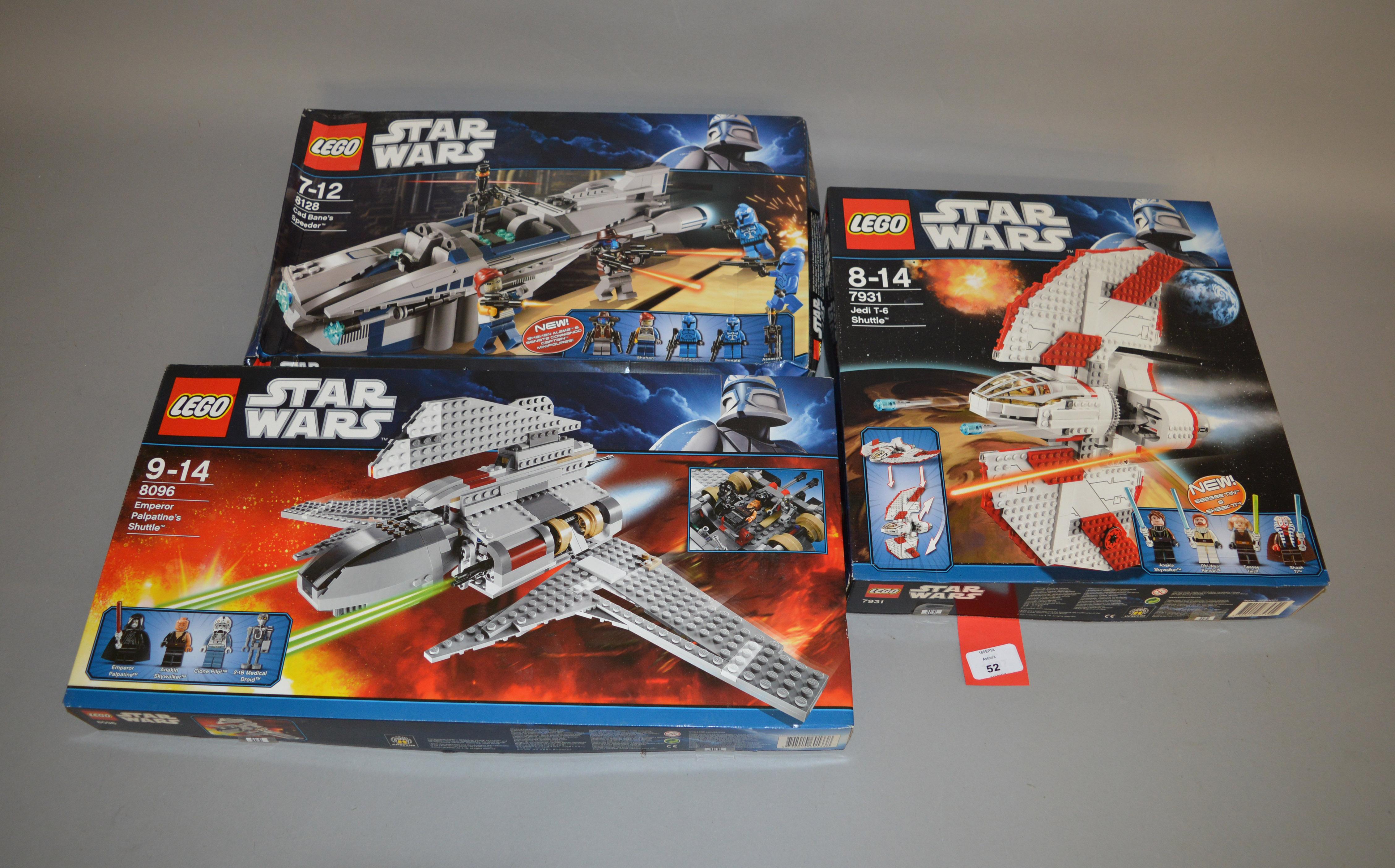 Lot 52 - Three Lego Star Wars sets: 8096 Emperor Palpatine's Shuttle; 7931 Jedi T-6 Shuttle;