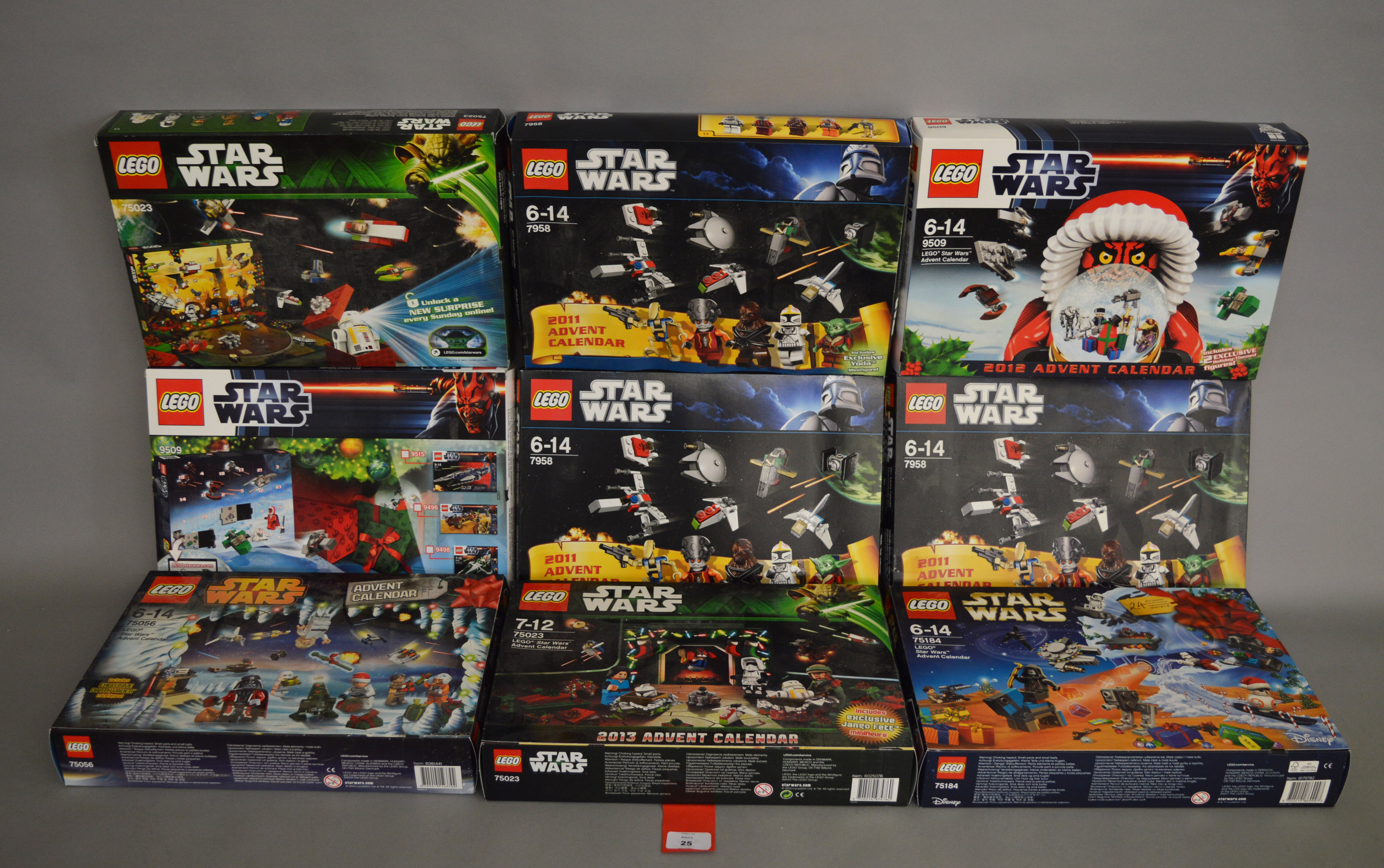 Lot 25 - Nine Lego Star Wars Advent Calendars: two 9509; 75056; 75184; two 75023; three 7958.
