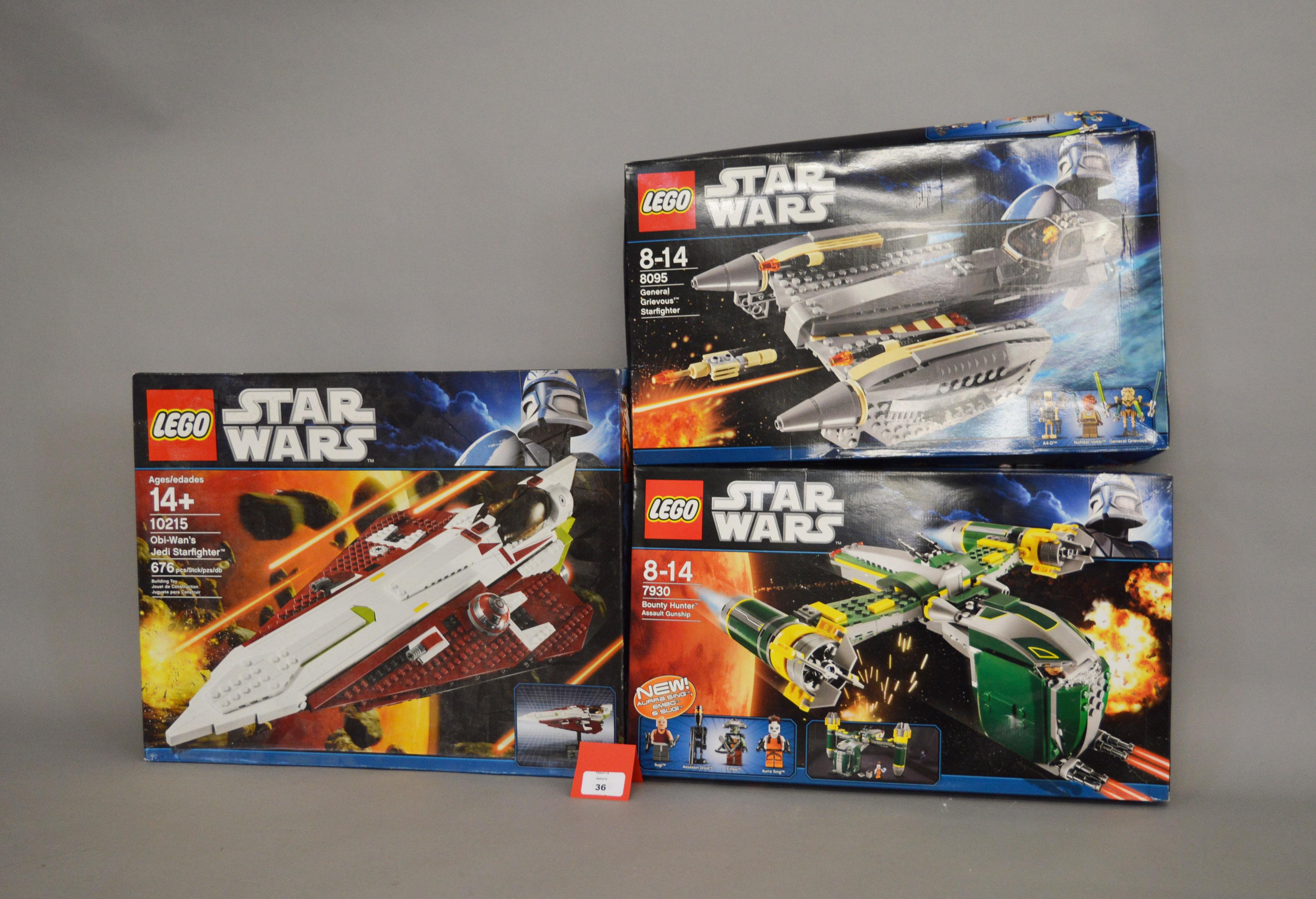 Lot 36 - Three Lego Star Wars sets: 10215 Obi-Wan's Jedi Starfighter; 7930 Bounty Hunter Assault Gunship;