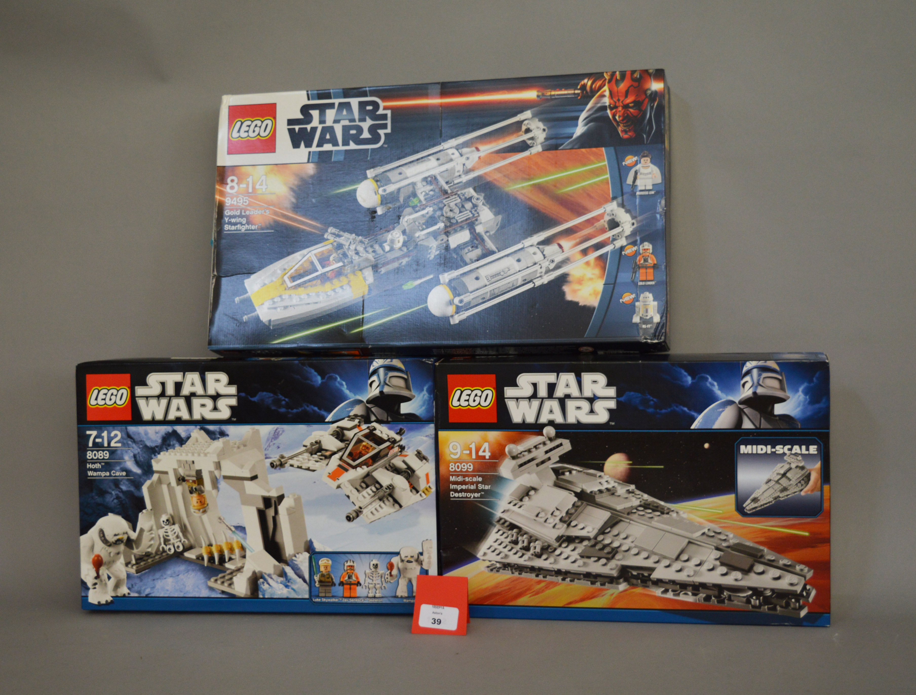Lot 39 - Three Lego Star Wars sets: 9495 Gold Leader's Y-wing Starfighter; 8089 Hoth Wampa Cave;