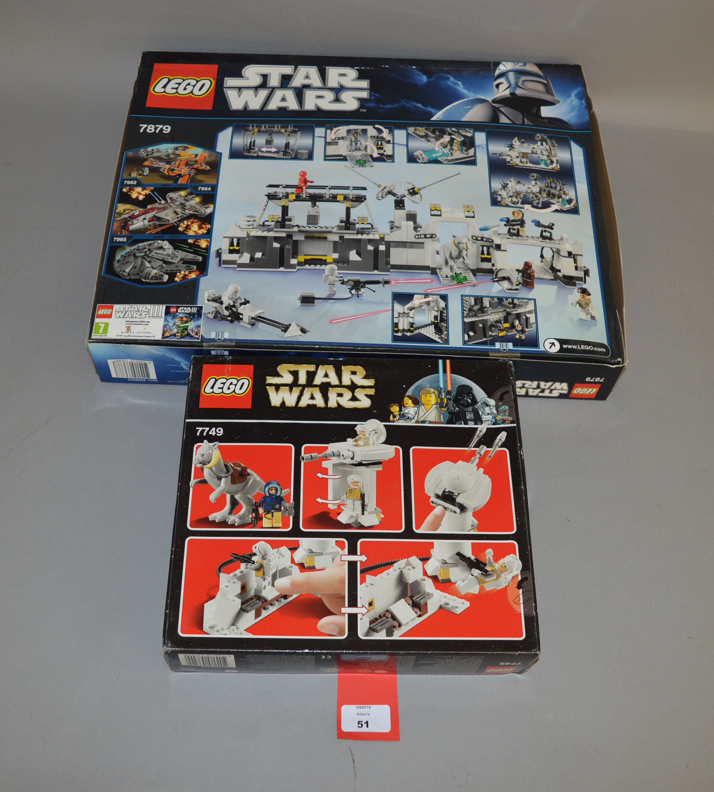 Lot 51 - Two Lego Star Wars sets: 7879 Hoth Echo Base; 7749 Echo Base. Both sealed.