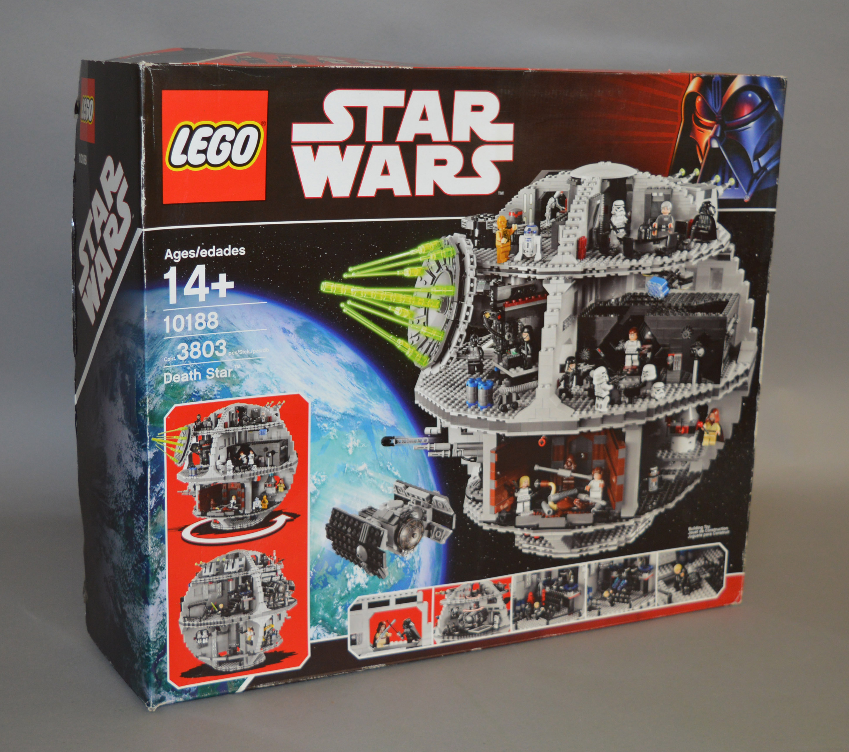 Lot 15 - Lego Star Wars 10188 'Death Star', in generally G box with some scuffing and creasing.