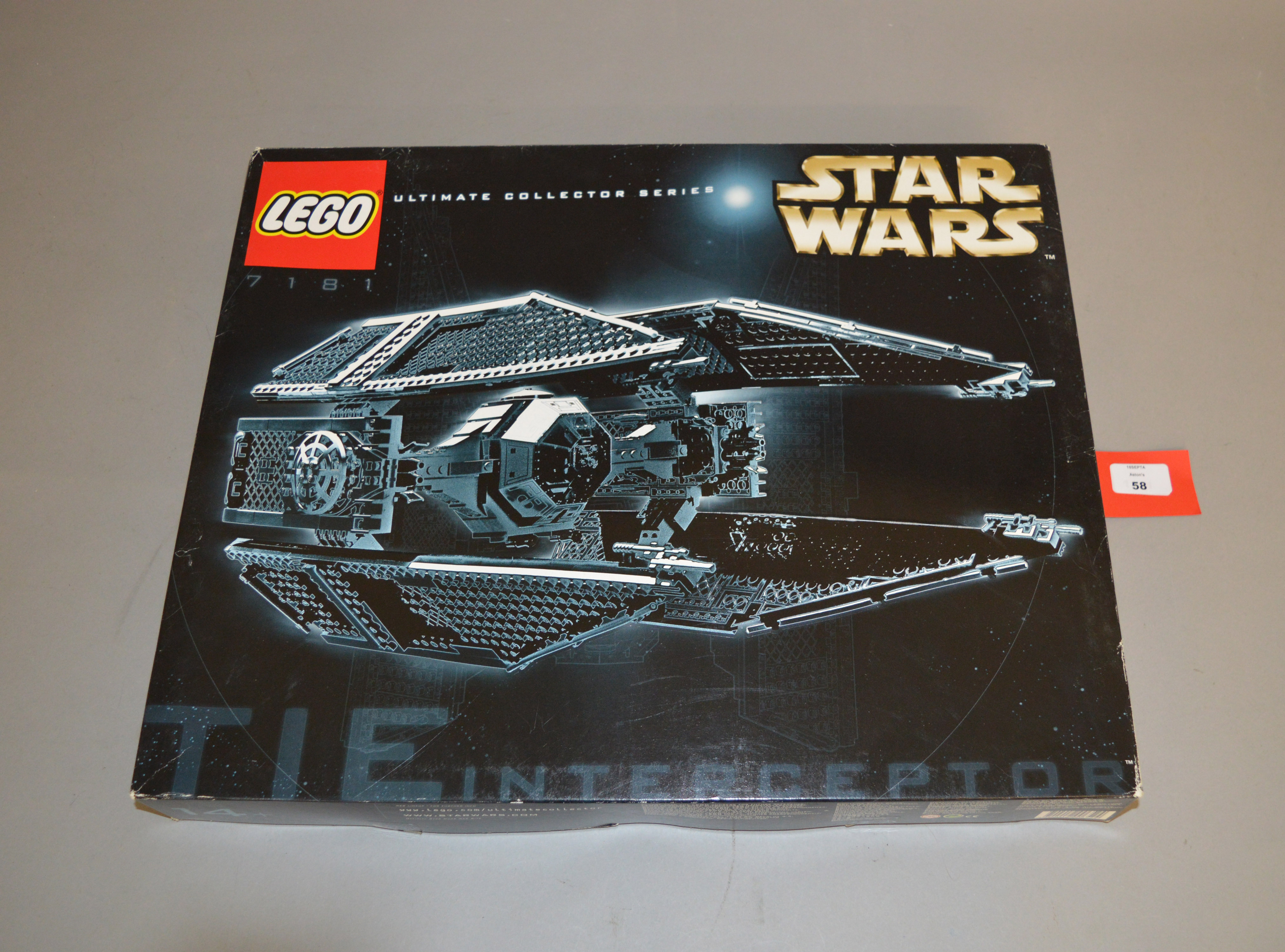 Lot 58 - Lego Star Wars 7181 'TIE Interceptor', in generally G box with some undulation and scuffs.