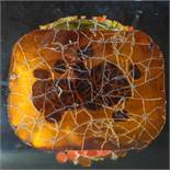 Stained glass in orange, yellow and red, in frame, 50 x 51cm