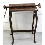 A small walnut side table on cabriole legs and a Victorian carpet stretcher (2).