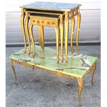 An onyx and metal occasional table and a nest of three wood and gilded tables (4).