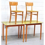 Two c.1950s retro formica kitchen tables and two matching kitchen chairs (4).