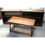 An oak coffee table on turned legs and stretchers and two small bookcases (3).