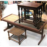 A 1970's vintage tile and glass top coffee table length 121cm, a nest of three tables,